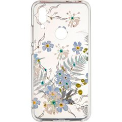 Силиконовый чехол для Samsung Galaxy A71 (A715) Swarovski case Blue flowers